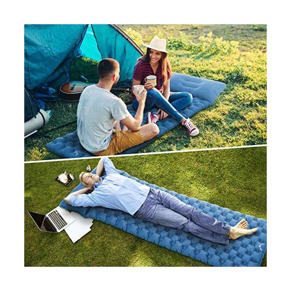 61mdCQnLlOL Tolaccea Camping Isomatte, Doppelseitige Unabhängige Aufblasbare Luftmatratze, Auslaufsicher & Feuchtigkeitsbeständig…