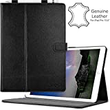 iPad Pro 10.5 Case (2017) by Cuvr | Leather Folio Smart Cover Stand with Apple Pencil Holder (Black)