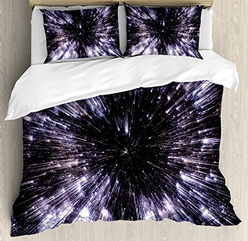 Ambesonne Galaxy Queen Size Duvet Cover Set, Speed of Life Space Travel Fantastic Galaxy Universe Science Fiction Future, Decorative 3 Piece Bedding Set with 2 Pillow Shams, Violet Black White