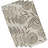 E by design Antique Flowers, Floral Print Napkin, 19 x 19'', Taupe (beige)