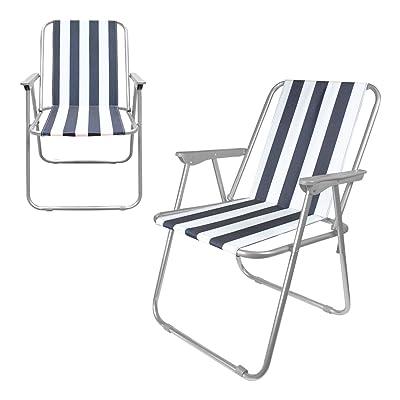 Chaise pliante d'extérieur/de plage Milestone - Blanche, 52x47x75cm