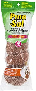 Pine-Sol Heavy-Duty Copper Scrubbers | Premium Scrub Sponges for Cast Iron, Stainless Steel, Oven Racks, Grills, 4 Pack