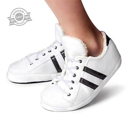 Balvi - Tennis Zapatillas de casa Pantuflas Originales. Talla: XS (Talla EUR 36-37). Color: Blanco. Suela Extra Fina y Aislante.