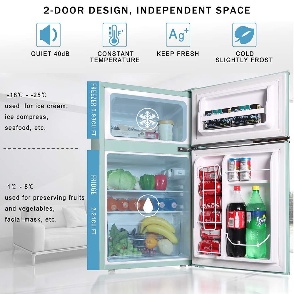 Northair 2-Door Mini Refrigerator with Handle, 3.2 Cubic ...