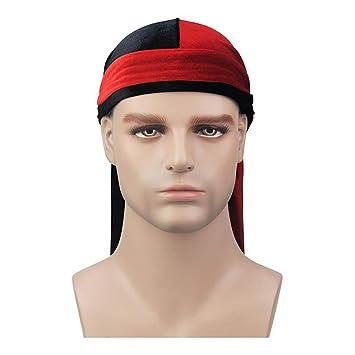 816732450ab Luxury Men S Velvet Bandana Turban Hat Wigs Biker Headwear Headband Pirate  Hat Hair Accessories Red Black