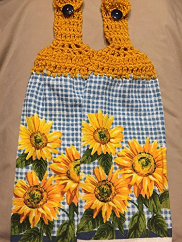Free shipping to USA included in price - 2 CROCHET KITCHEN hand TOWEL LIGHT weight terry cloth - Checkered and SUNFLOWERS - Soft Golden Yellow 100% acrylic yarn top - smoke free - pet free