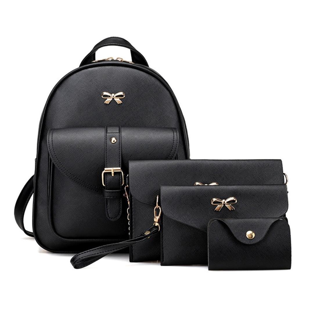 BCDshop Women Girl School Backpack Satchel Rucksack With Handbag,Shoulder Message Bag,Wallet Purse,4 Sets (Black)