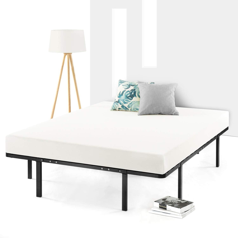 Best Price Mattress Queen Frame 14 Inch Metal Platform Beds w Wooden Slat Mattress Foundation No Box Spring Needed , Black