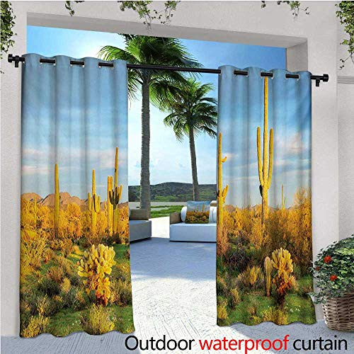 Saguaro Outdoor Privacy Curtain for Pergola Sun Bath in Sonoran Desert Blooming Cactus Spring Time Vegetation Scenery Thermal Insulated Water Repellent Drape for Balcony W72
