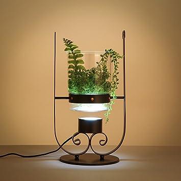 XIANGYU Moderno creativo Led lámpara de mesa de vidrio negro ...