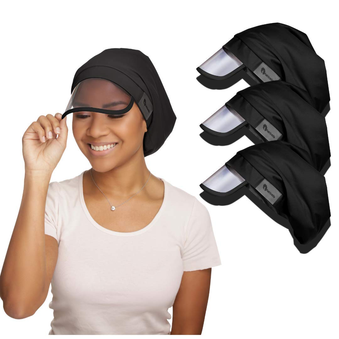 Hairbrella Women's Rain Hat, Waterproof, Sun Protection, Satin-Lined, Packable (Black - Pack of 3) by Hairbrella