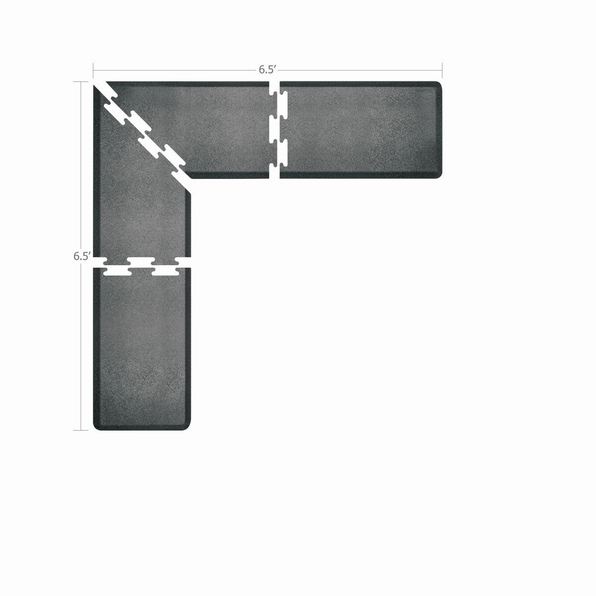 WellnessMats Puzzle Piece Collection 2 Foot Wide L Series Granite Steel Anti-Fatigue 6.5 x 6.5 Foot Mat