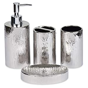 Blue Donuts 4 Piece Bathroom Accessories Set (Silver)