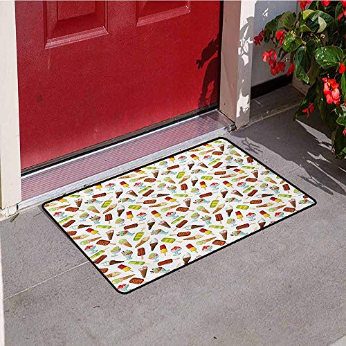 Jinguizi Ice Cream Universal Door mat Frozen Desserts in Wafer Cone Glazed Eskimo with Whipped Cream Chocolate Sundae Door mat Floor Decoration W19.7 x L31.5 Inch Multicolor (Best Snow Cones In Houston)