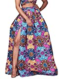 Women's African Floral Pleated High Waist Dress Party Elastic Split Maxi A-line Skirt Purple Size 12-14