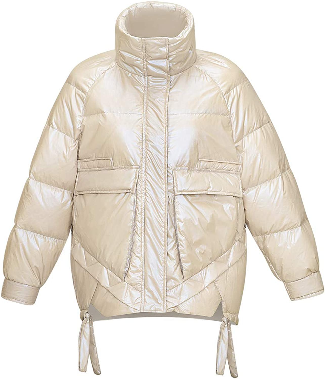 KISSQIQI Women's Thickened Duck Down Warm Parka Water-Resistant Jacket Coat Lightweight Outdoor Winter Outerwear