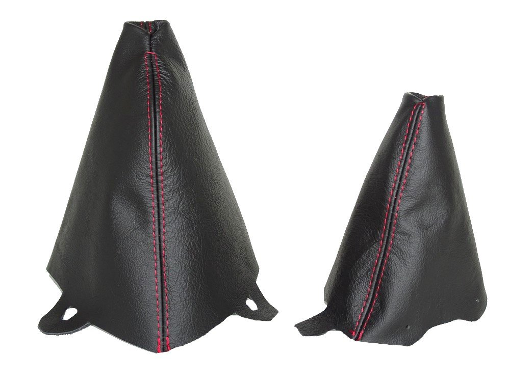 For Mini Cooper R50 R53 S-One 2001-2006 Automatic Shift & E Brake Boot Black Leather Red Stitching