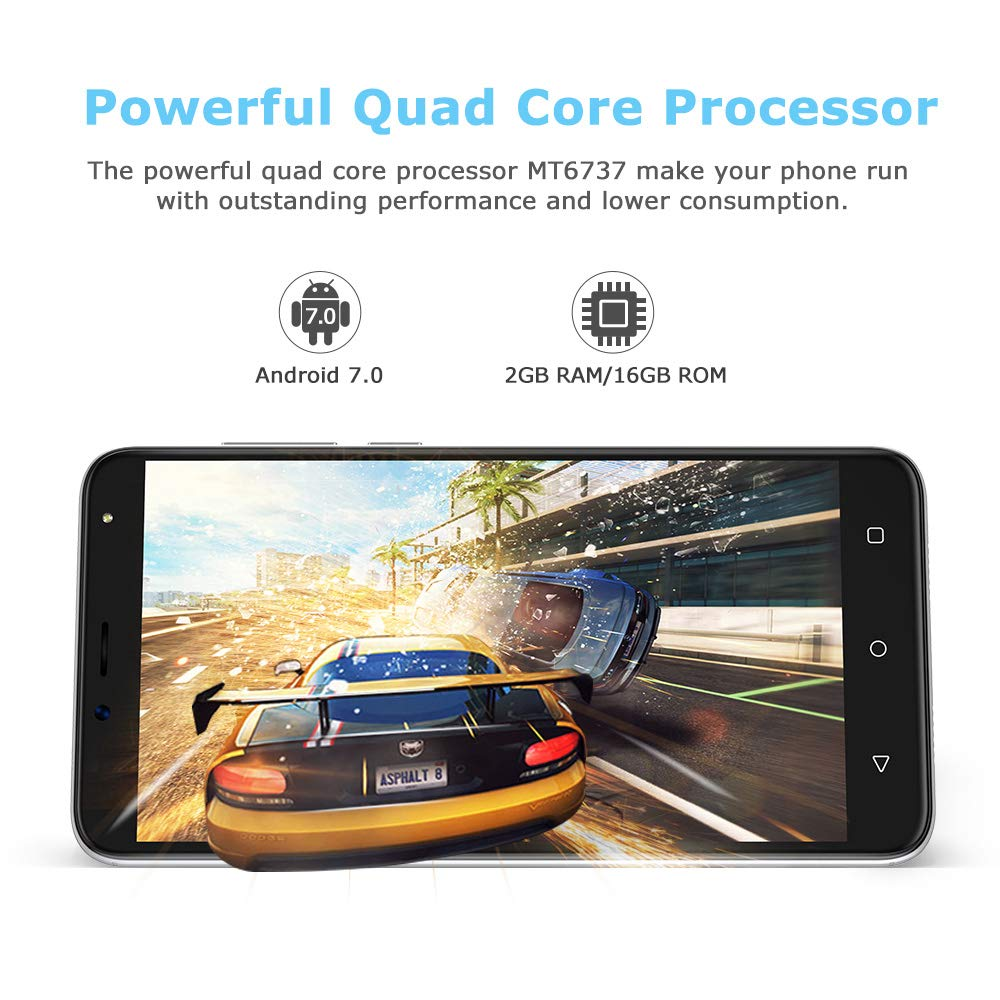 Smartphone Libre 4G, Wieppo S6 Teléfono móvil Dual SIM con Pantalla DE 5.5 Pulgadas HD 1280 * 720, Doble Cámara 8MP+5MP, 2GB RAM 16GB ROM, Android 7.0, Batería de 2970mAh(Plata)