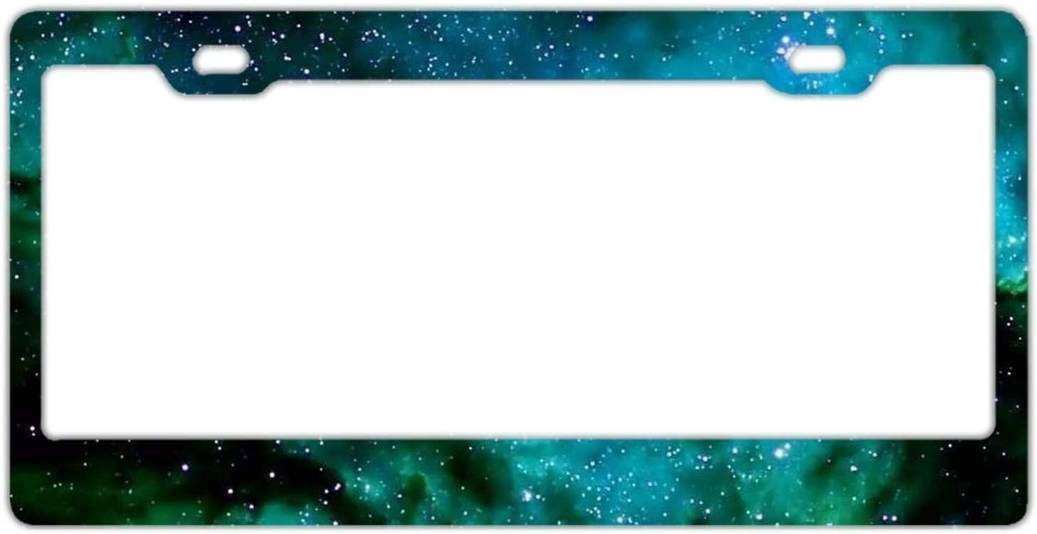 Abstract Space Galaxy Green License Plate Frame Car Tag Frame Auto License Plate Holder 12 x 6