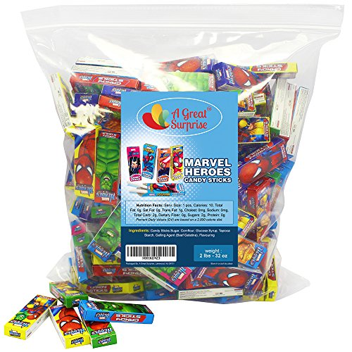 Marvel Heroes Candy Sticks Assorted Characters, 2 LB Bulk Candy