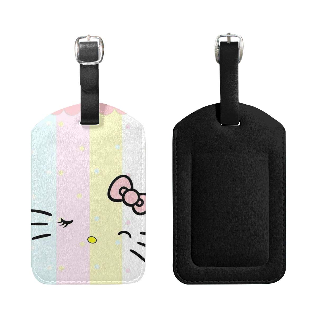 Set of 2 PU Leather Luggage Tags Light Colors Hello Kitty Face Suitcase Labels Bag Adjustable Leather Strap Travel Accessories