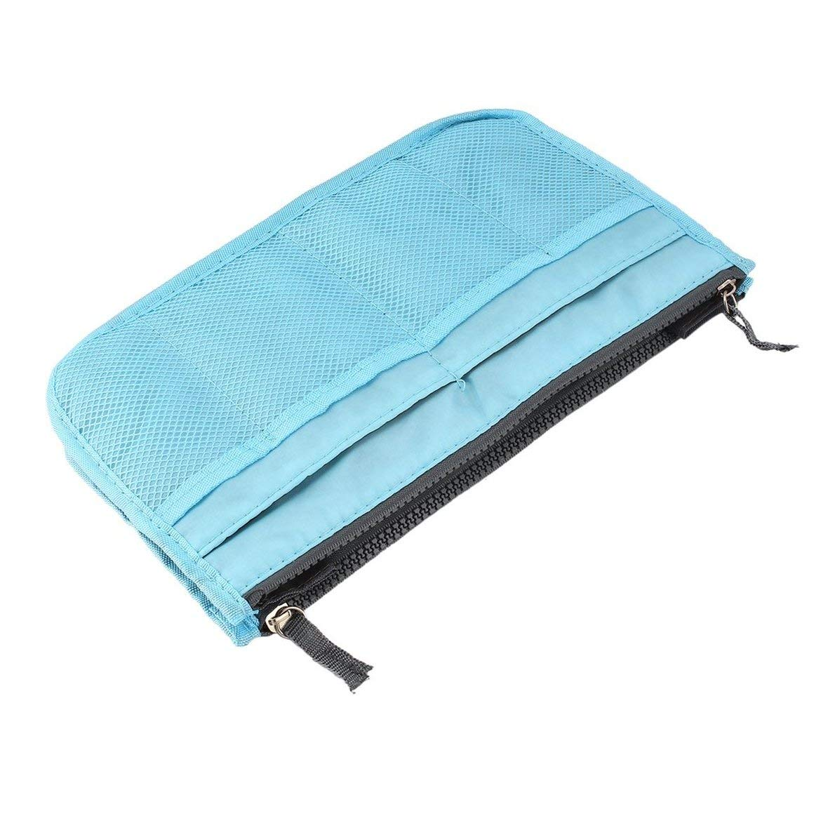 Heaviesk Trousse de maquillage Trousse de toilette Double Zipper Polyester Portable Travel Beauty Trousse de toilette Maquillage Trousse de toilette avec poignée