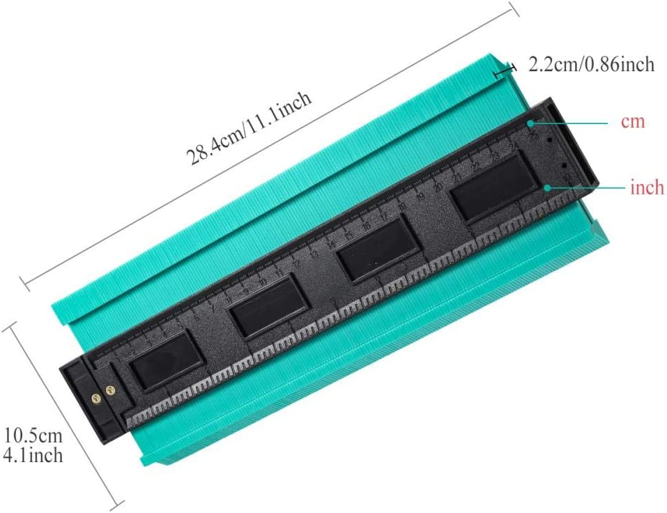 HEHUANG 12/14/25/50cm Contour Gauge Plastic Profile Copy Contour Gauges Standard Wood Marking Tool Tiling Laminate Tiles Dropping,Long 50cm Red 14cm Green
