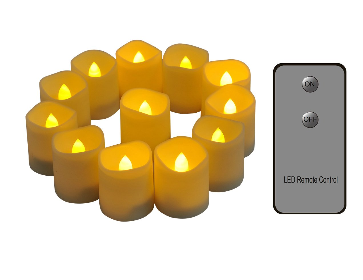 Flameless Candles with Remote Long Lasting 200 Hours Unscented LED Tealight Candles CR2450 Battery Operated Electric Votive Candles Set of 12 Realistic Flickering Flame Fake Candles Warm Night Lights