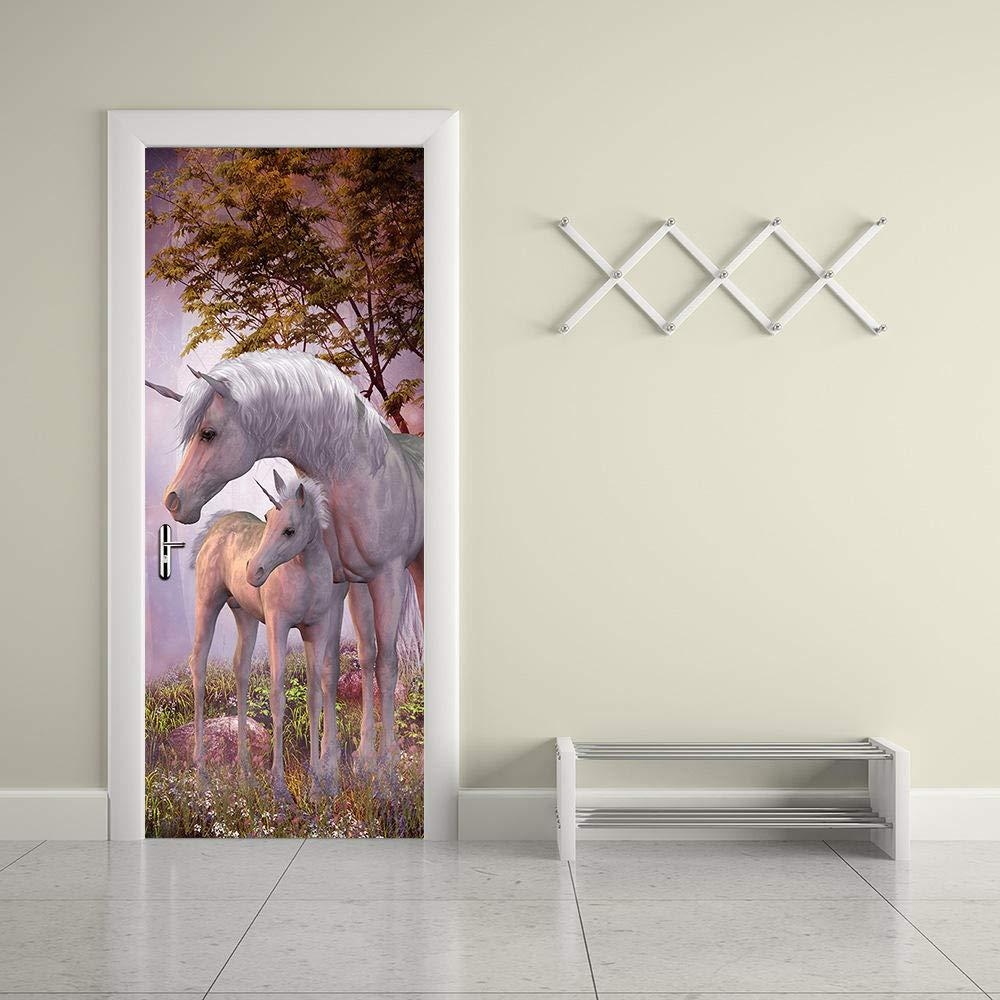 YLWMBB Sticker de Porte 3D Licorne De Cheval Blanc Porte Papier Peint Mural Amovible en PVC Autocollant Image pour D/écoration Mur Salon Cuisine Chambre Salle de Bain 77cm*200cm