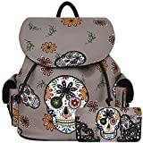 Sugar Skull Day of the Dead Daypack Concealed Carry Backpack Fashion Women Travel Biker Purse Wallet Set (Gray Set)