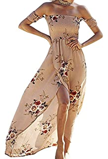 9344942a483f Summer Beach Maxi Dresses for Women Off The Shoulder Floral Boho Sundresses