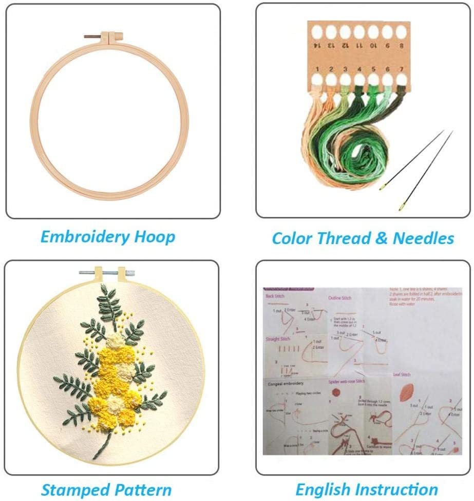 Louise Maelys Beginner Embroidery Kit Flower Full Range Cross Stitch with Pattern Stamped DIY Embroidery Kits Set for Starter