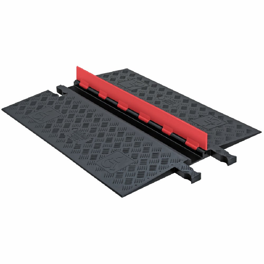 """Guard Dog GD1X75-O/B Polyurethane Heavy Duty 1 Channel Low Profile Cable Protector with ADA Compliant Ramp, Orange Lid with Black Ramp, 36"""" Length, 27.3"""" Width, 1.25"""" Height"""