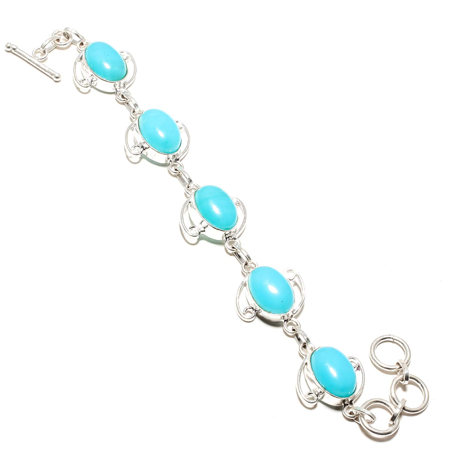 Adjustable and Flexible Length-Link Chain Bracelet SF-1057 Beautiful Blue Chalcedony Gemstone Bracelet Handmade 925 Sterling Silver Plated Jewelry