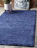 Unique Loom Solo Collection Plush Casual Navy Blue Area Rug (5' x 8')