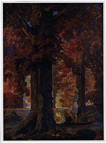 Vintage 1939 Original Maxfield Parrish Fine Art Antique Calendar Print Autumn Forest Scene Titled Only God Can Make A Tree / Golden Hours