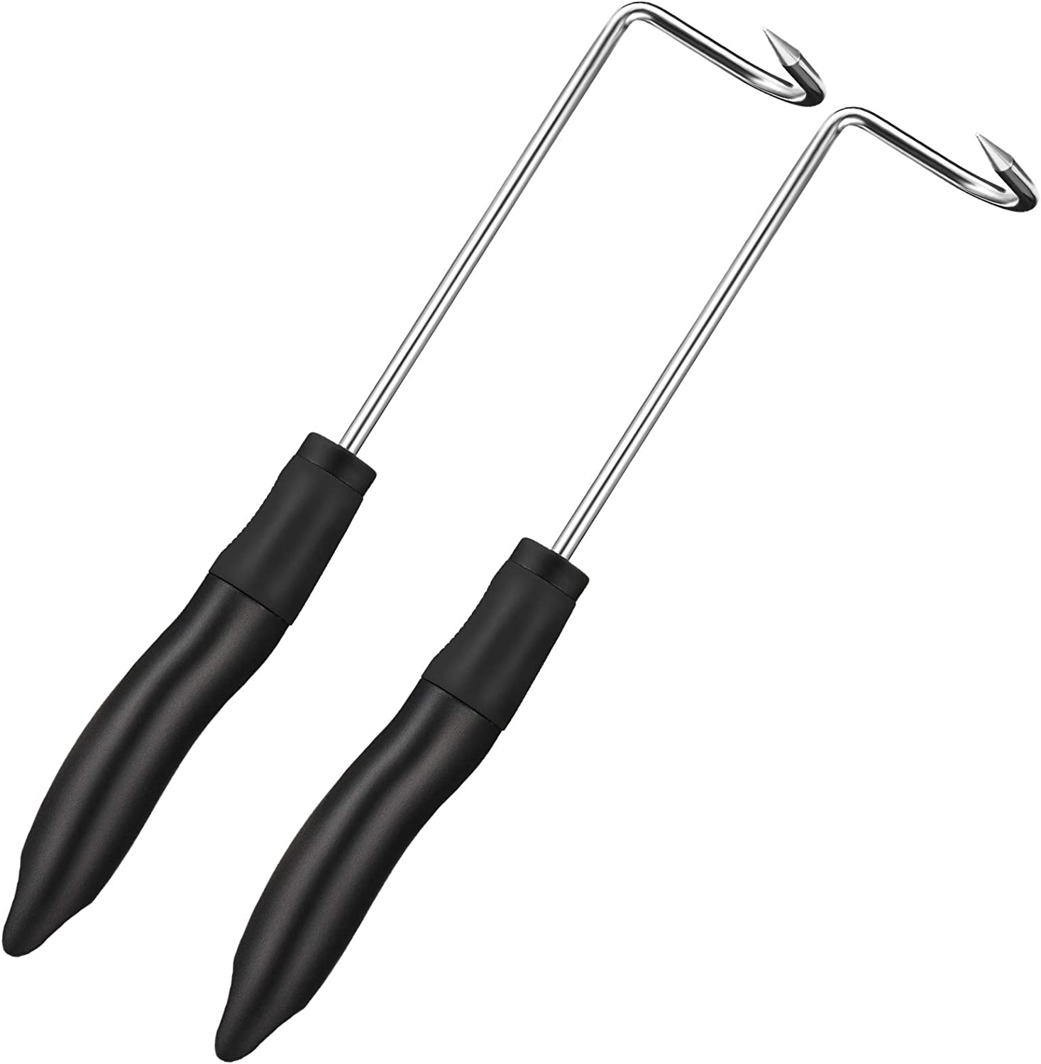 2 Pieces Grilling Tool Tail Food Flippers for Grill or Kitchen 12 Inch Short Size BBQ Turner Hook Flips for Meat Vegetables Steak or Fish Dishwasher Safe Flipper Hooks