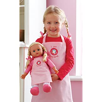 Girls and Doll Matching Pink Cupcake Aprons Set