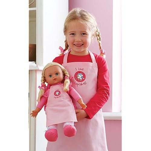 Girls and Doll Matching Pink Cupcake Aprons Set