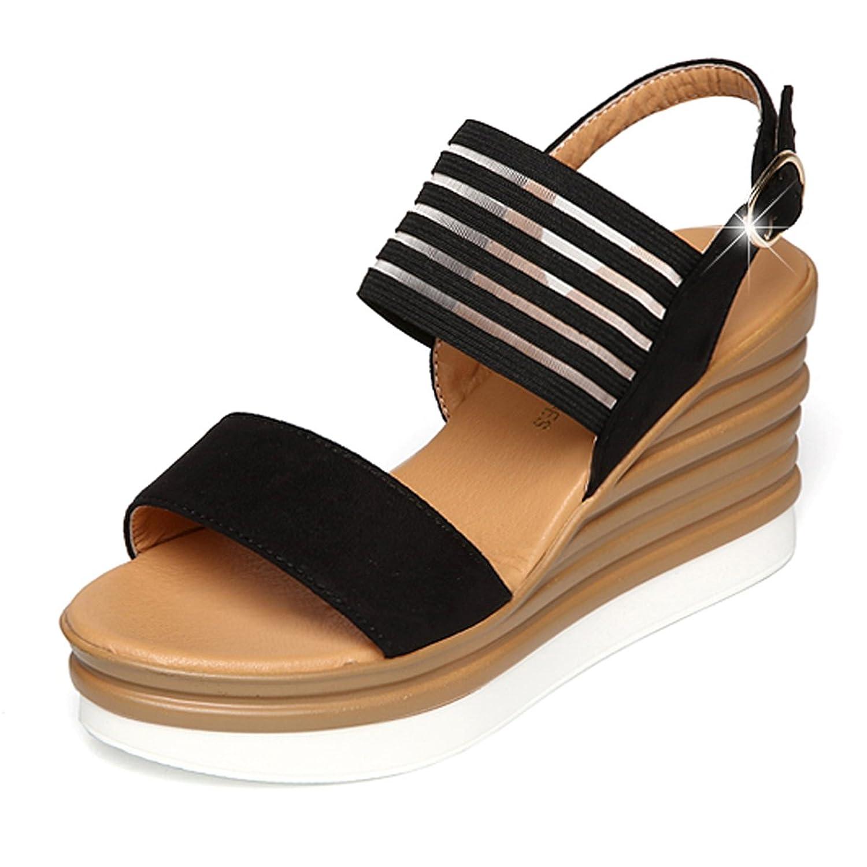 Damen Sommer Mesh Pantoffel Sandale(EU 37, Beige) CHNHIRA