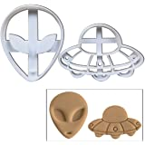 SET of 2: Alien and UFO cookie cutters, 2 pcs, Perfect for spooky Halloween parties