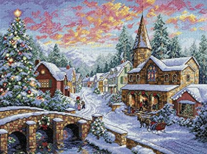 Amazon com: Dimensions Cross Stitch Kit 16x12 Holiday Village
