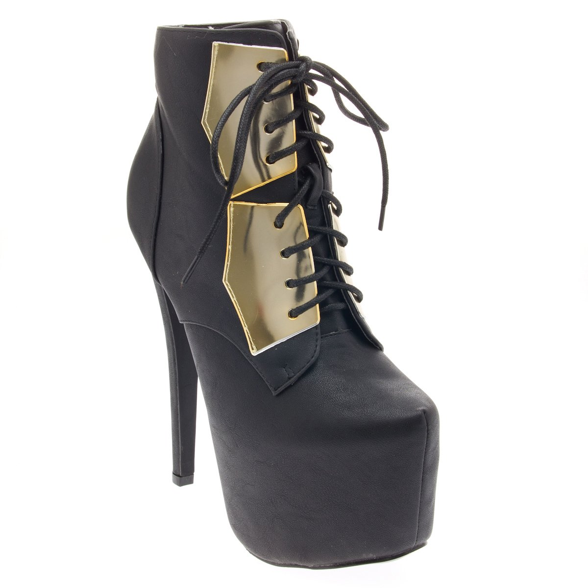 Glaze Womens 43-NELLY20 Closed Toe Lace Up Platform Stiletto High Heel Ankle Booties