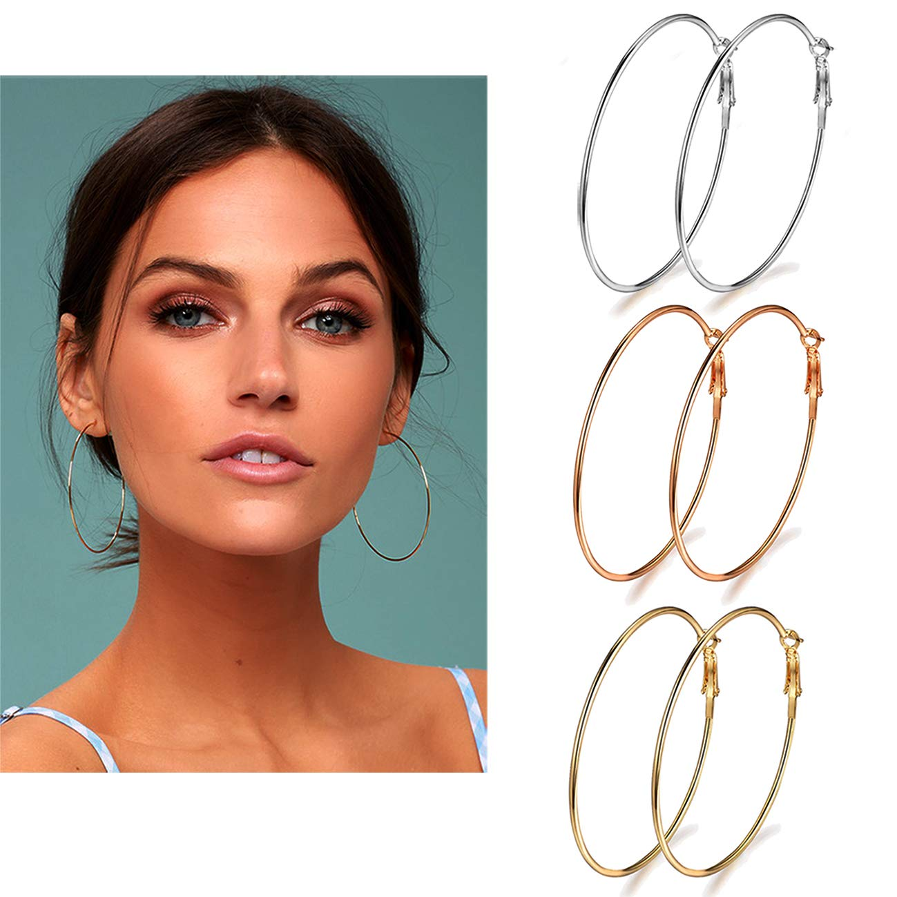 Holfeun 3 Pairs Big Hoop Earrings, Stainless Steel Hoop Earrings in Gold Plated Rose Gold Plated Silver for Women Girls (70mm) by Holfeun