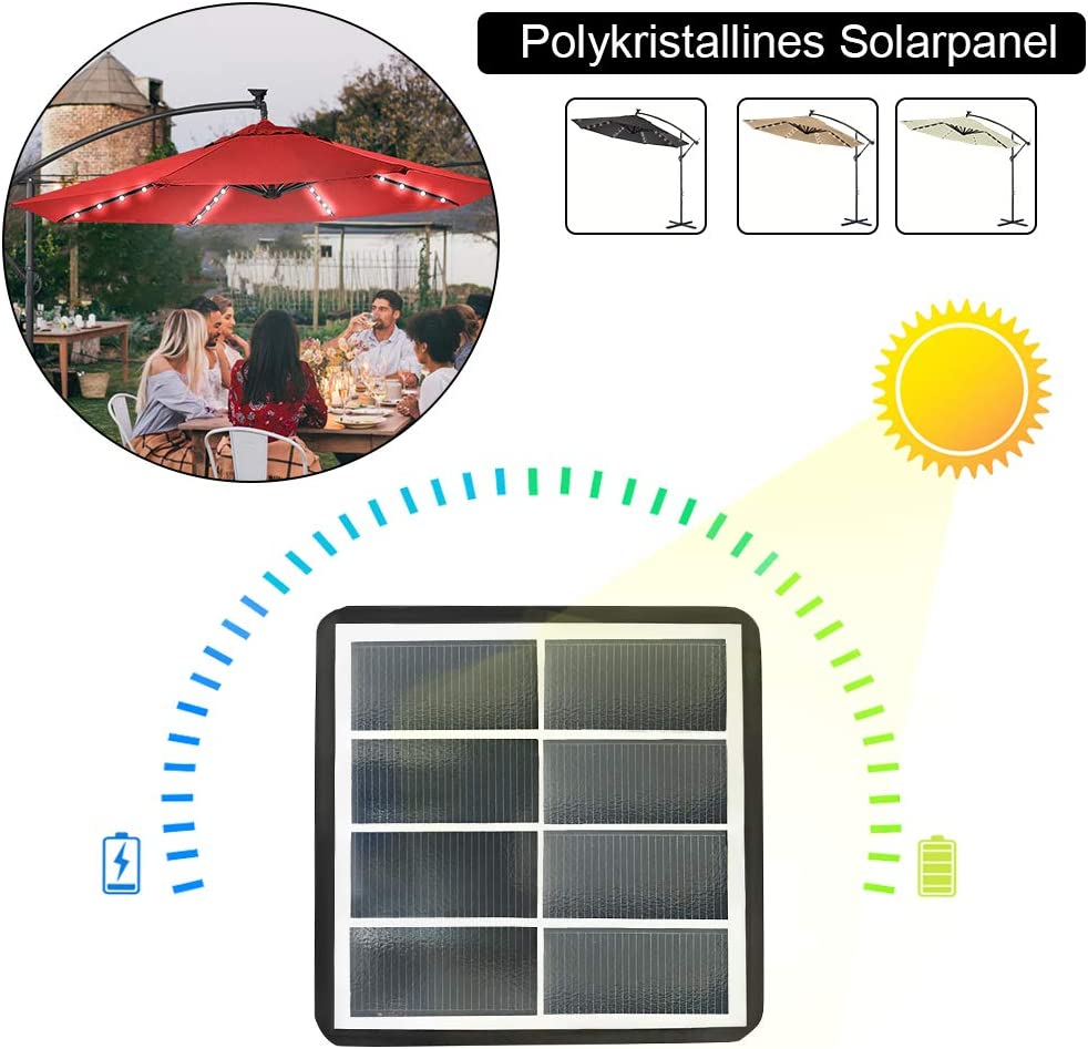 Protezione UV Impermeabile Con Solar LED Colore Beige /ø300cm Alluminio Poliestere Parasole con Base a Croce LARS360 Ombrelloni da Giardino per Esterno Gazebo Piscina Giardino Terrazzo