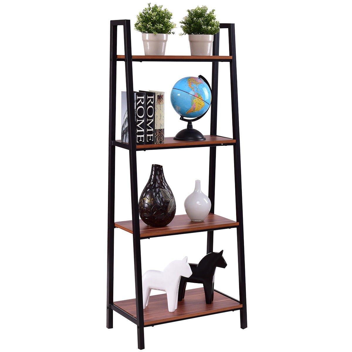 TANGKULA 4-Tier Ladder Shelf Ladder Bookcase Bookshelf Display Shelves (1) AM1086HM