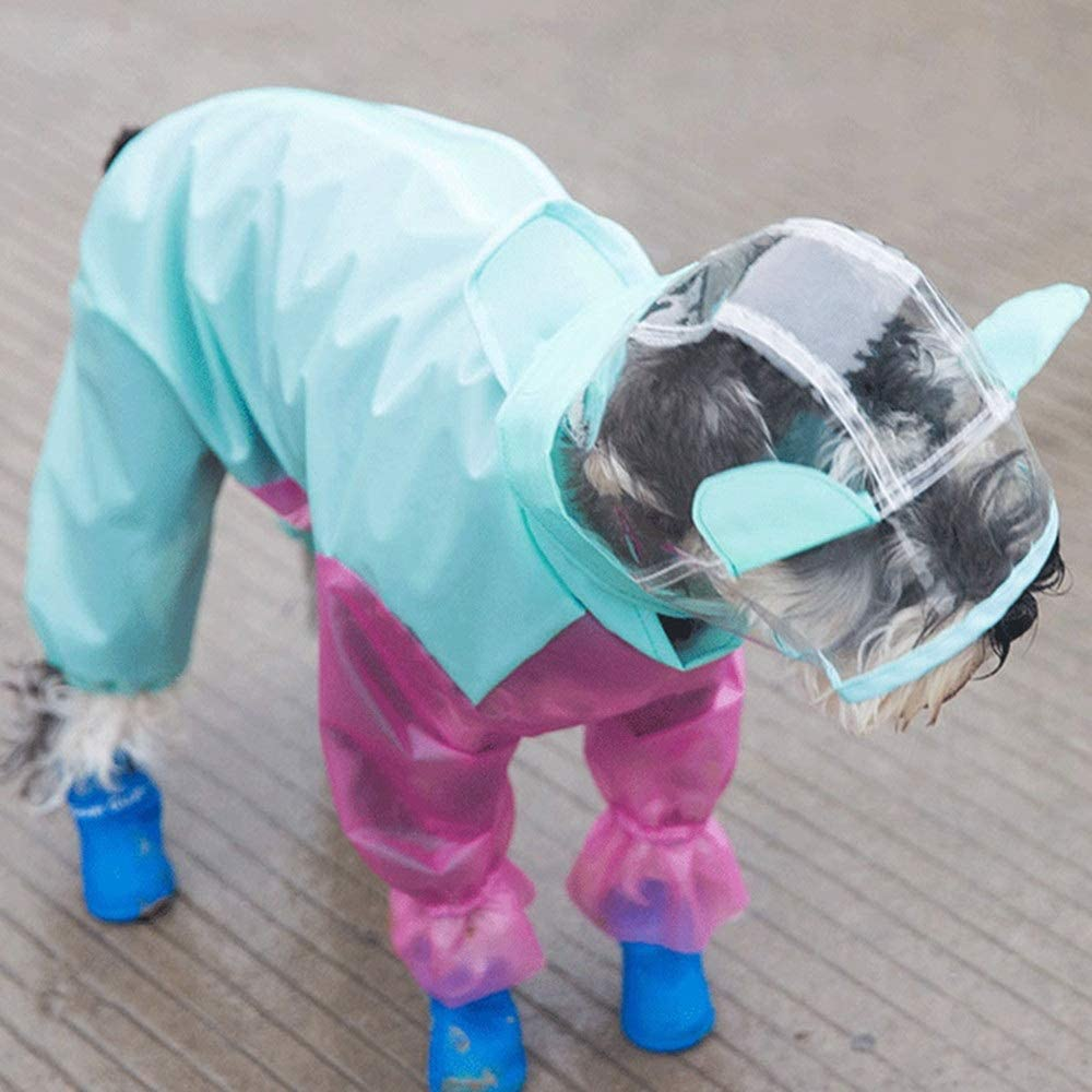recommended 1-3 kg Color : Blue, Size : XS KPOON Pet Raincoat Dog Four-leg Raincoat Small Puppies Spring And Summer Clothes All-inclusive Waterproof Pet Clothing For Pets Measures To Prevent Dirt