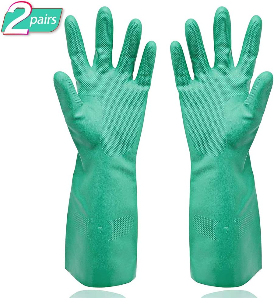 Gayisic Nitrile Cleaning Protective Gloves Chemical Resistant Gloves Waterproof Reuseable Household,Kitchen,Dish Washing Heavy Duty Gloves Powder-Free,Latex-Free(Small-2pack)