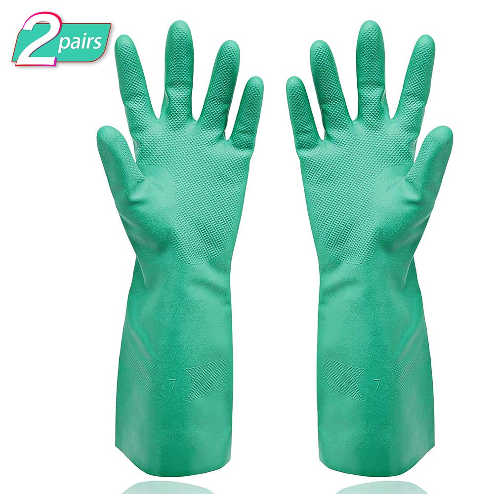 Gayisic Nitrile Cleaning Protective Gloves Chemical Resistant Gloves Waterproof Reuseable Household,Kitchen,Dish Washing Heavy Duty Gloves Powder-Free,Latex-Free(XL-2pack)