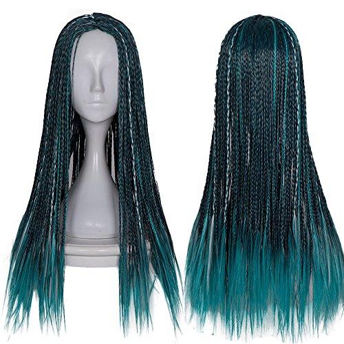 Costume Braids (Netgo Kids Children Teal Mixed Black Cosplay Wigs Halloween Costume Braids Wigs 22